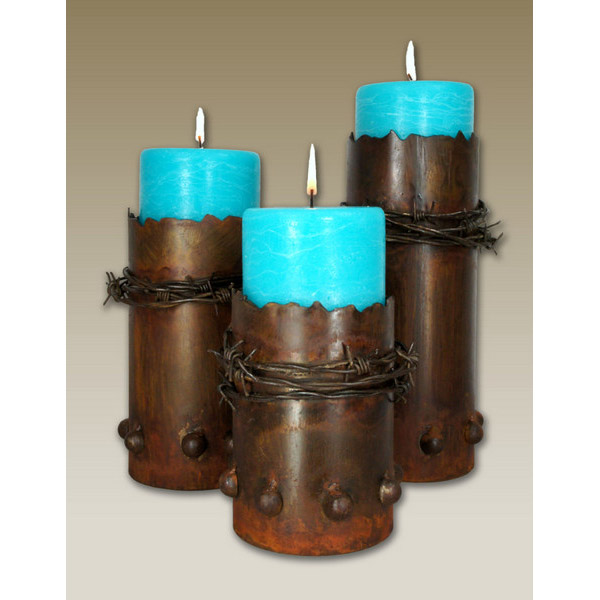 Barbed Wire Candle Holders Rustic Western Decor