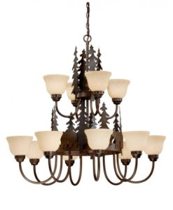 12L Chandelier Burnished Bronze - Bears