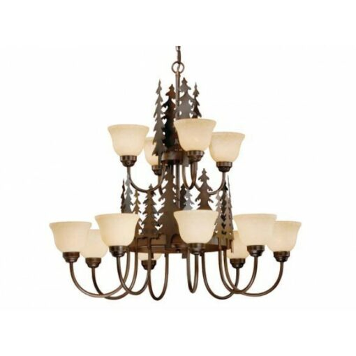 12L Chandelier Burnished Bronze - Trees
