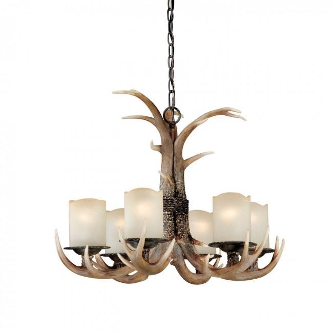 6 light antler chandelier black walnut cabin antler lighting vaxcel h0016 mozeypictures Choice Image