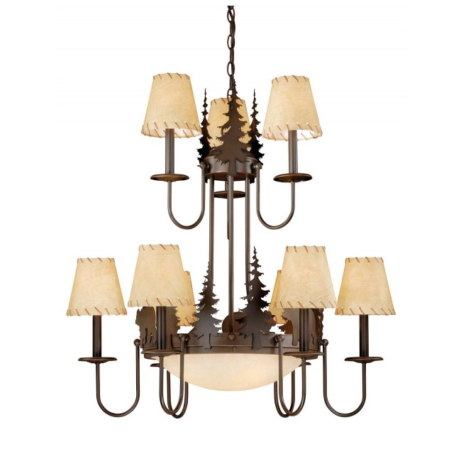 Bozeman 12L Chandelier Burnished Bronze Bear
