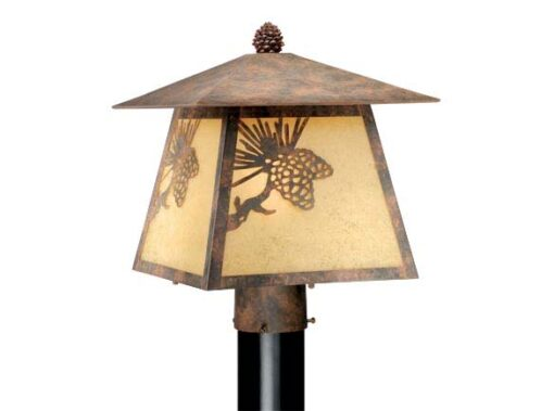Whitebark 11″ Outdoor Post Light Olde World Patina