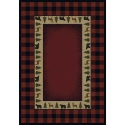 Buffalo Red Crimson Cabin Rug