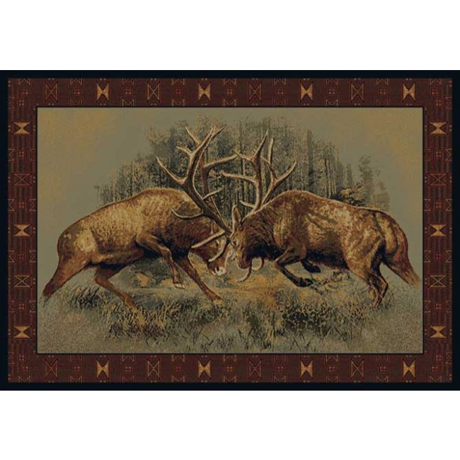 Fight For Dominance Cabin Rug Wildlife Cabin Rugs