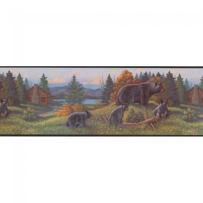 Lake Forest Lodge Bear Border - Wildlife Wallpaper Decor