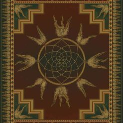 DREAM CATCHER Lodge Cabin Rug - Deep Red