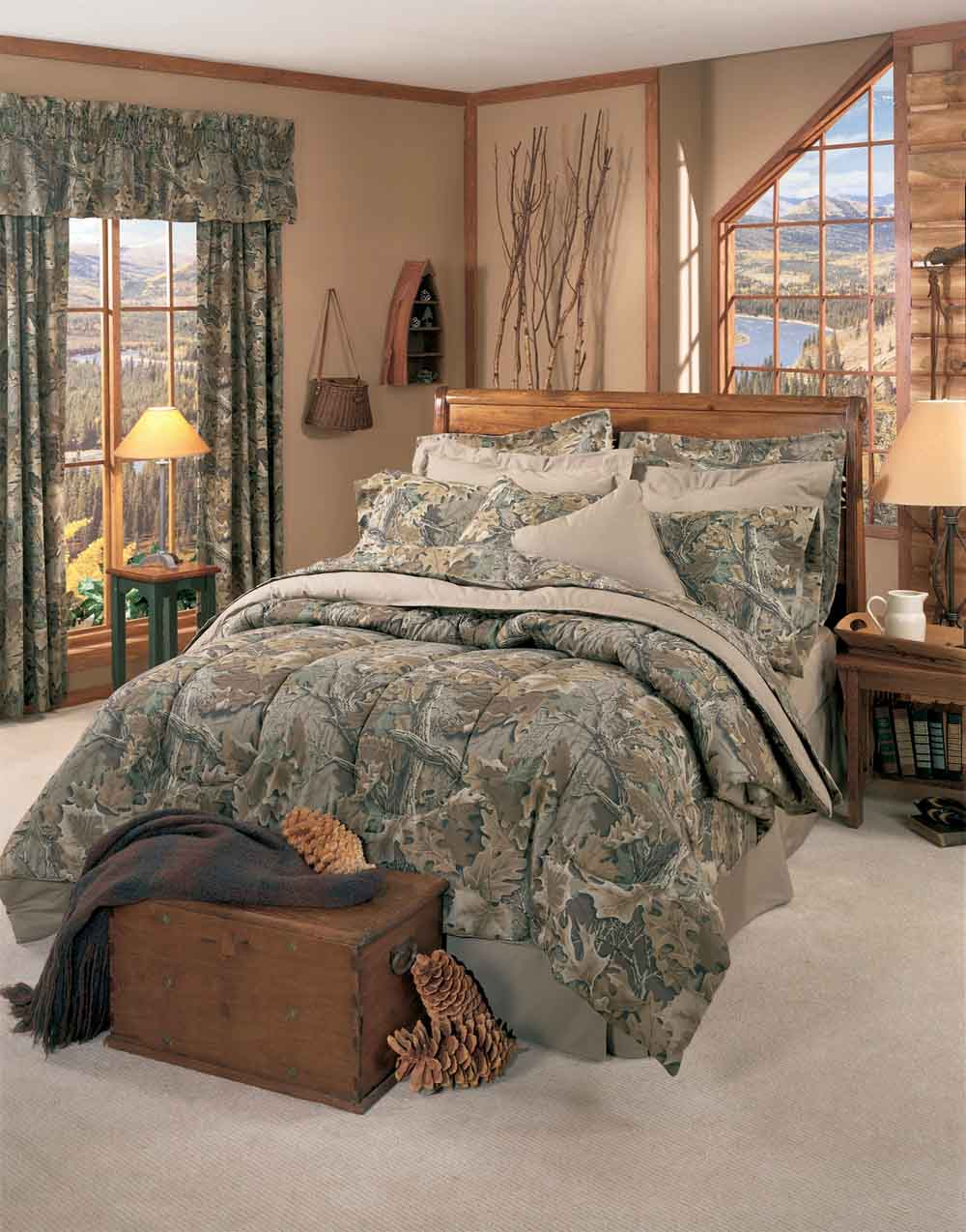 camo bed p rustic camouflage bedding warm oak set comforter multi