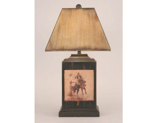 Bead Board Pot w/Cowboy Scene Lamp