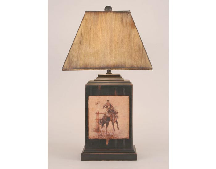Bead Board Pot w/Cowboy Scene Lamp