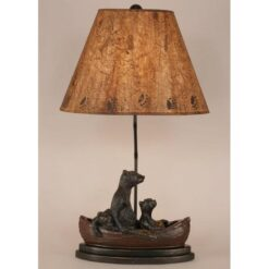 Bear Family in Canoe Lamp