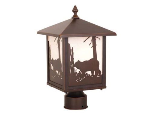Bozeman 8 Outdoor Post Light Burnished Bronze Bear