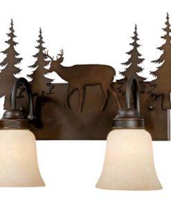 Vanity Burnished Bronze - Two Light / Deer Accent