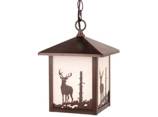 "Bryce 8"" Outdoor Pendant Burnished Bronze - Deer"