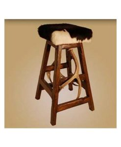 Cowhide Antler Bar Stool