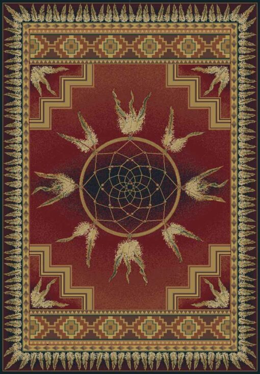 DREAM CATCHER Lodge Cabin Rug - Crimson