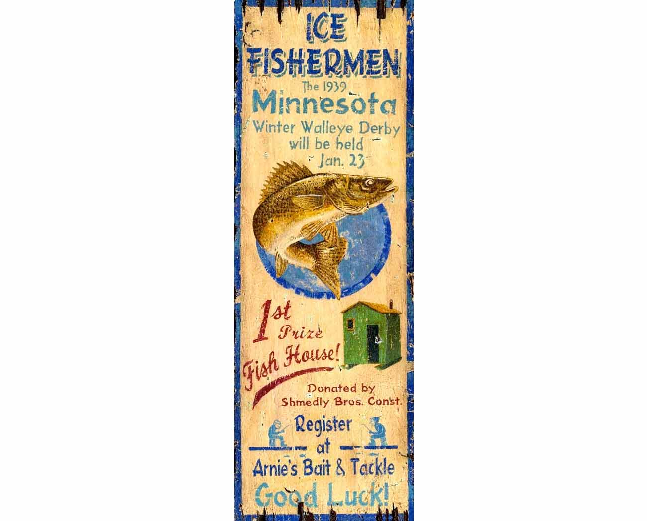 Ice Fishing Vintage Sign