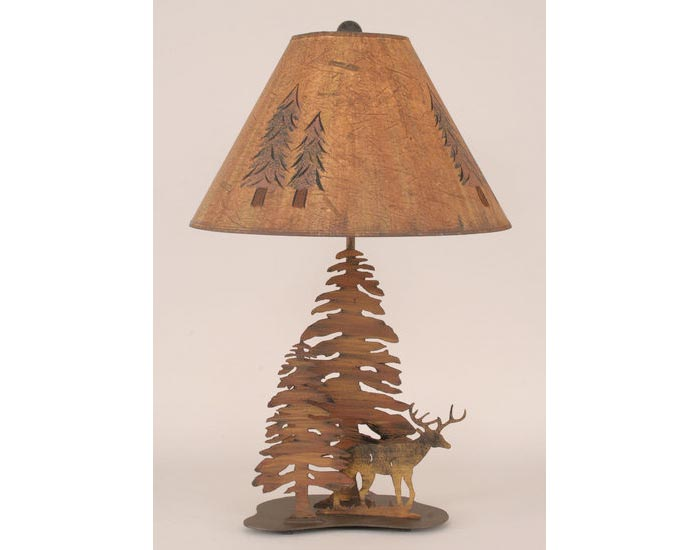 Iron Deer Lamp With Trees