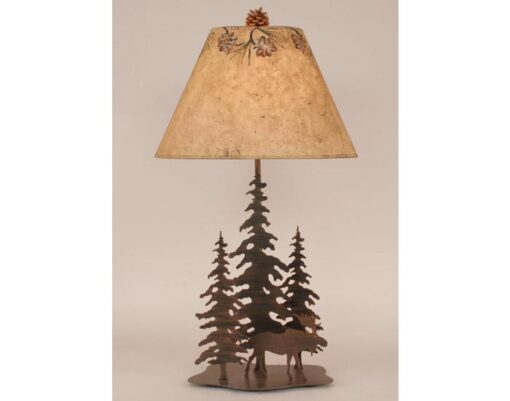 Iron Pine Trees Moose Lamp