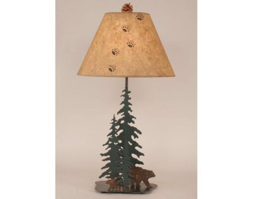 Iron Pine Trees w/ Bear Family Lamp