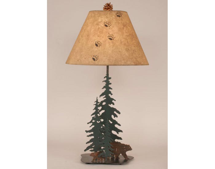 Iron Pine Trees w/ Bear Family Lamp