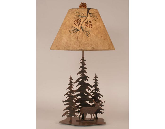 Iron Pine Trees with Deer Lamp