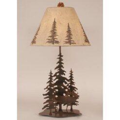 Iron Pine Trees with Elk Lamp
