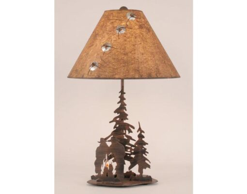 Iron Pine Trees & Cowboy Campfire Scene Lamp w/Night Light