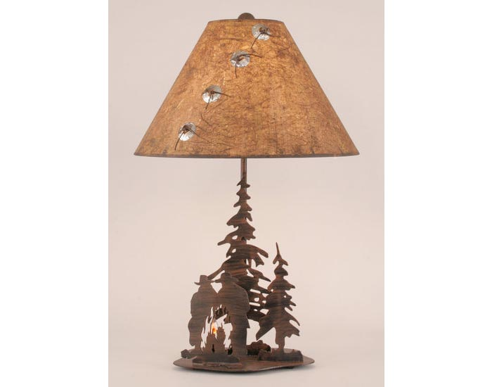 Iron Pine Trees & Cowboy Campfire Scene Lamp w/Night Light