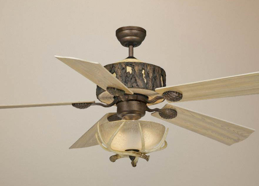 "Log Cabin 52"" Ceiling Fan Weathered Patina with Lodge 12-1/2"" Light Kit Weathered Patina"