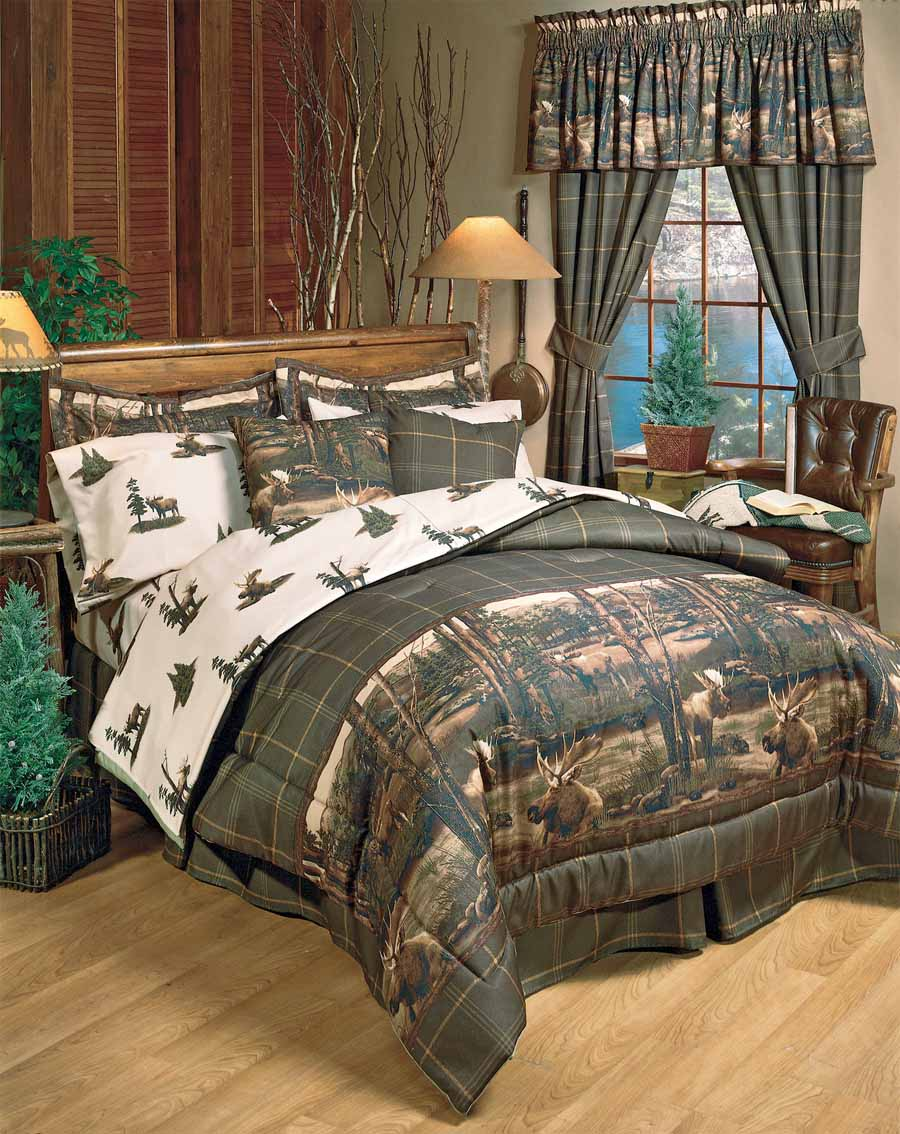 Moose Mountain Comforter Sets Cabin And Lodge Bedding Hunting Decor