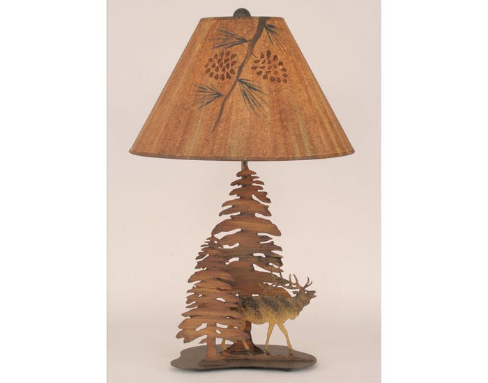 Iron Elk Lamp with Pine Trees