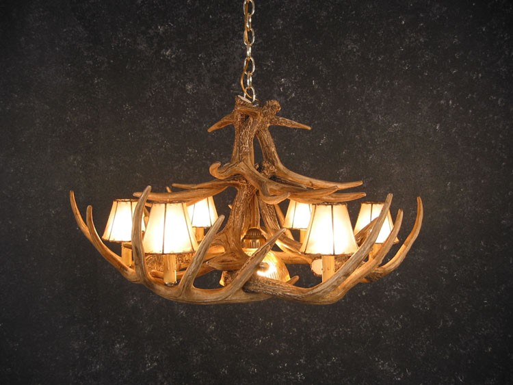 Whitetail 12 Antler Chandelier with Rawhide Shades and Downlight