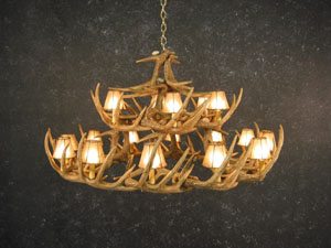 Whitetail 30 Antler Chandelier wuth Rawhide Shades