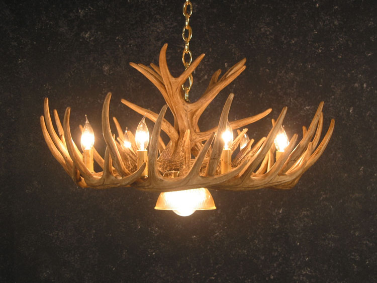 Whitetail 12 Antler Cascade Chandelier with Downlight