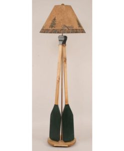 2 Wooden Paddle Floor Lamp