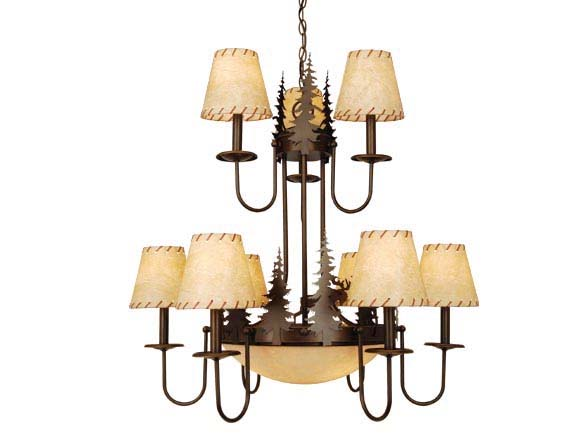 Yellowstone 12L Chandelier Burnished Bronze Moose
