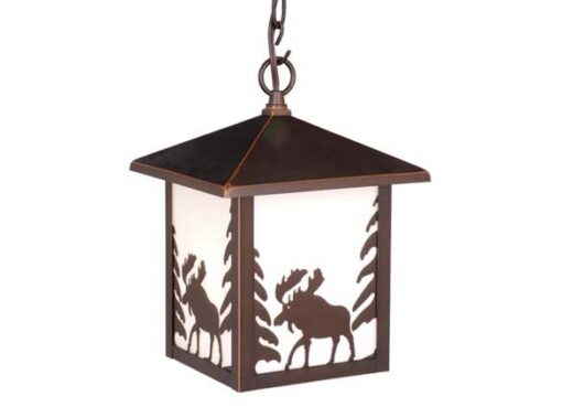 "Yellowstone 8"" Outdoor Pendant Burnished Bronze - Moose"