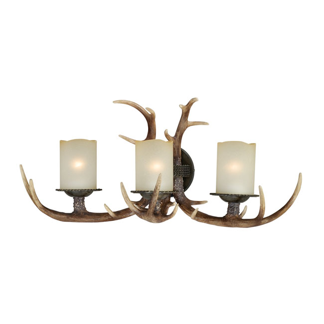 Yoho Three Light Vanity Black Walnut Rustic Cabin Sconce