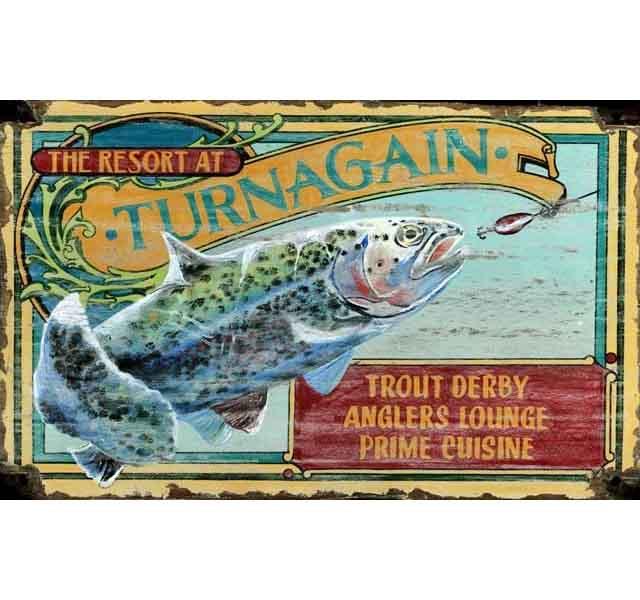 Trout resort custom vintage sign custom cabin signs for Vintage fishing signs