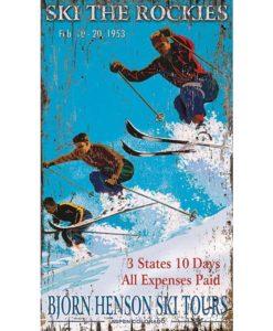 hensons ski custom vintage sign